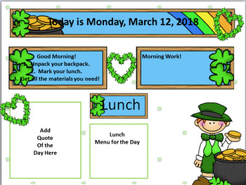 Editable Morning Message Template - St. Patrick's Day Theme