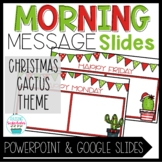 Morning Message Slide Templates Christmas Cactus Theme