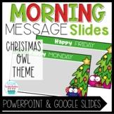 Morning Message Slide Templates Christmas Owl Theme
