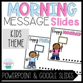 Morning Message Slide Templates Kids Holding Signs Distanc