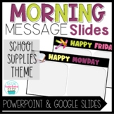 Morning Message Slide Templates School Supplies Distance Learning