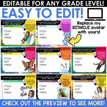 Morning Message Slides Bitmoji   Writing Prompts EDITABLE BUNDLE