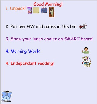 Attendance Morning Message and Lunch Count - SMART notebook