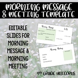 Morning Message and Morning Meeting Editable Slides / Templates
