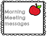 Morning Message ideas