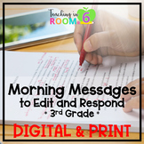 Morning Message to Edit and Respond * 3rd Grade