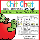Kindergarten Morning Messages: Chit Chat AUGUST/ SEPT NO PREP
