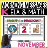 Morning Messages DIGITAL Kindergarten NOVEMBER