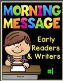 Morning Messages Early Readers Kindergarten First Grade