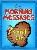 November Kindergarten First Grade Morning Messages