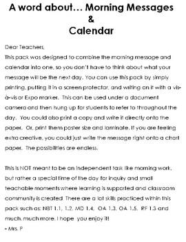 September: Morning Messages and Calendar For Little Ones
