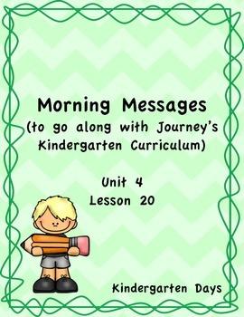 Morning Messages for Journey's Kindergarten Unit 4 Lesson 20