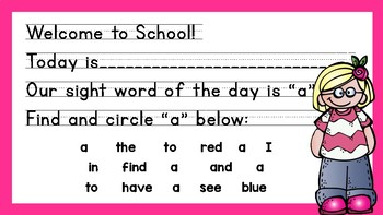 Morning Messages for Kindergarten (Sight Word Focus)