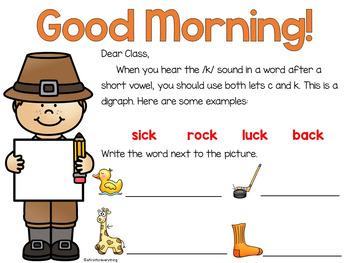 Morning Messages for November (Editable)