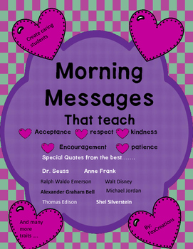 Morning Messages of Inspiration and Motivation in the Classroom  Mindfulness