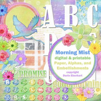 Morning Mist Printable Digital Paper, Embellishments and Alphas