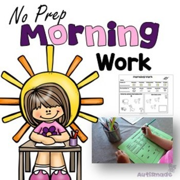 Morning No Prep worksheets - Kindergarten/Autism
