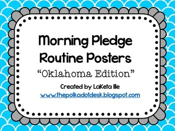 "Morning Pledge Routine Posters ""Oklahoma Edition"" Turquoise, White, Gray"