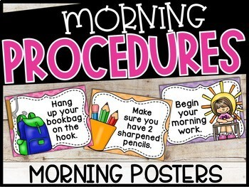 Morning Procedure Posters - Kid Friendly Posters
