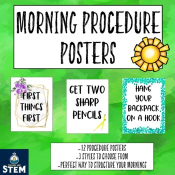 Morning Procedure Posters for Back to School