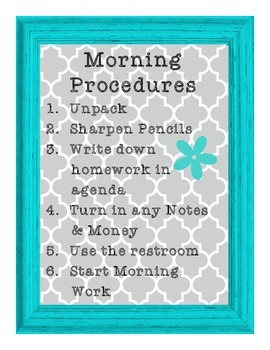 Morning Procedures in Gray and Turquoise