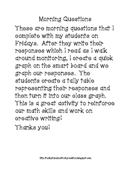 Morning Questions for Creative Writing