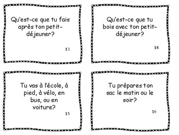 Morning Routine - 24 Conversation Cards in French