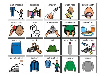 morning routine 40 visual cards by sy21 teachers pay