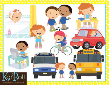 Before and After School (Morning and Afternoon Routine) Clip Art Bundle