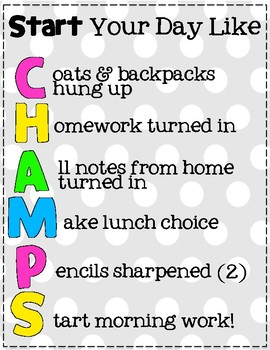 Morning Routine CHAMPS Acronym Poster