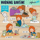 Morning Routine Clipart | Teen Girl Getting Ready For School