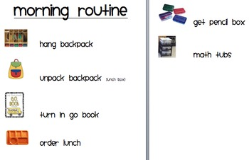 Morning Routine Directions with Pictures