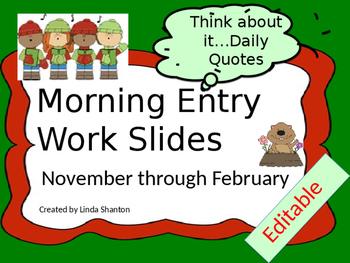 Morning Routine - November -February