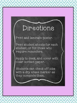 Morning Routine Poster and Student Desk Helper