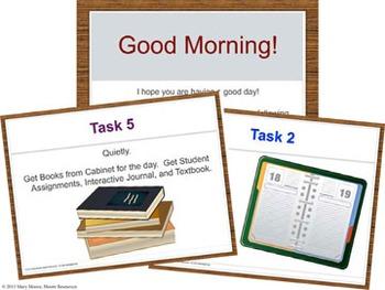 Classroom Management - Class Routine Starter PowerPoint {Editable}