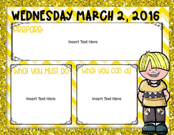 Morning Routine PowerPoint:  March 2016 (editable)