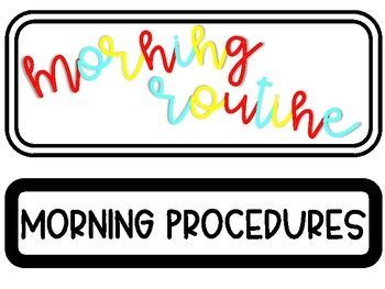 Morning Routine/Procedure Cards