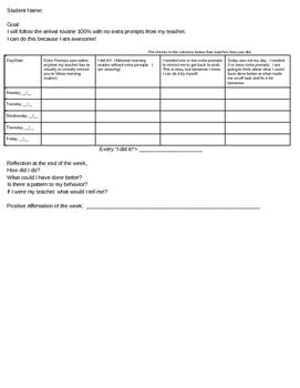 Morning Routine Self-  Monitoring Sheet