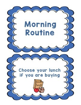 Morning Routine Signs-Blue Scallop Edges
