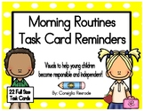 Morning Routine Task Card Reminders to support PBIS (Yellow Polka Dots)