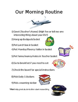Morning Routine Travel Theme Sign