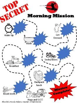 Morning Routine Visual Schedule Ninja Style