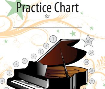 Non-Calendar Based Music Practice Chart (Piano picture)