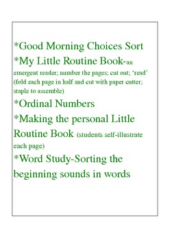 Morning Routine for the Primary Classroom