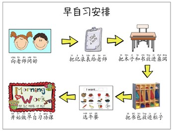 Morning Routine in Chinese and English