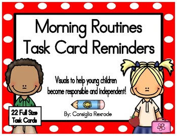 Morning Routines Task Card Reminders (Red Polka Dots)