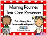 Morning Routines Task Card Reminders to support PBIS (Red Polka Dots)