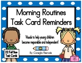 Morning Routines Task Card Reminders to support PBIS (Blue Polka Dots)