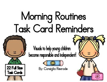 Morning Routines Task Card Reminders to support PBIS (White)
