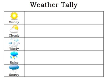 Morning Routines Weather Tally Chart